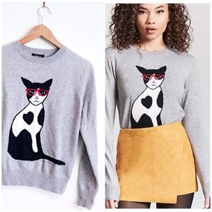 F21 Cat Sweater Small